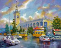 Sochi railway station, after the rain. Architectural landscape of the beloved city of Sochi. Author: Nikolay Sivenkov. For me, another kind of landscape royalty free stock image