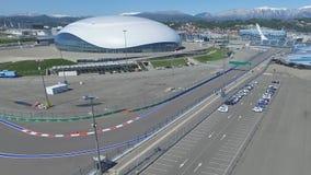 SOCHI, ROSJA budowa Bolshoy lodu kopuła w Sochi, Rosja dla zim olimpiad 2014 Bolshoy lodu pałac Obrazy Stock
