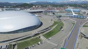 SOCHI, ROSJA budowa Bolshoy lodu kopuła w Sochi, Rosja dla zim olimpiad 2014 Bolshoy lodu pałac Zdjęcie Stock