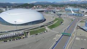 SOCHI, ROSJA budowa Bolshoy lodu kopuła w Sochi, Rosja dla zim olimpiad 2014 Bolshoy lodu pałac Obraz Stock
