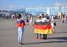 SOCHI ROSJA, CZERWIEC, - 25, 2017: FIFA konfederacj filiżanka 2017 w Sochi Fan fotografują Obraz Royalty Free