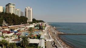 Sochi Rosja, Czerwiec, - 2 2018 odgórny widok bulwar i Czarny morze zbiory