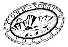 Sochi rubber stämpel. royaltyfri illustrationer