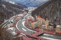 """SOCHI, RUSIA - 10 DE ENERO DE 2015: Vista superior de la estación de esquí """"Rosa Khutor"""" Imagenes de archivo"""