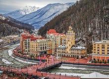"""SOCHI, RUSIA - 10 DE ENERO DE 2015: Vista superior de la estación de esquí """"Rosa Khutor"""" Fotografía de archivo"""