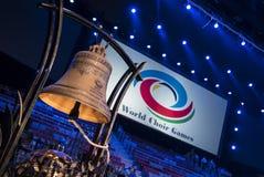 Sochi, Rusia - 6 de julio: Bóveda del hielo de Bolshoy el 6 de junio de 2016 en campana oficial de Sochi, Rusia para los juegos d Imagen de archivo