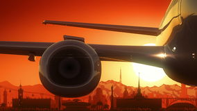 Sochi Russia Airplane Take Off Skyline Golden Background Stock Photo