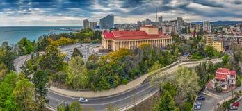SOCHI RUSSIA-APRIL 18, 2015: Grön fyrkant på vinterteatern Arkivfoton
