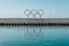 SOCHI, RUSSIA, APRIL 09, 2016: Seaport Olympic Rings Stock Images