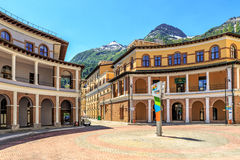Sochi, Russia. Beautiful sunny townscape of modern hotel and apartment buildings of Gorky Gorod mountain ski resort at summer Stock Images