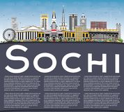 Sochi Russia City Skyline with Color Buildings, Blue Sky and Cop Royalty Free Stock Photos