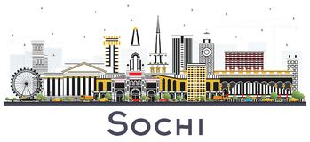 Sochi Russia City Skyline with Color Buildings Isolated on White Royalty Free Stock Photography