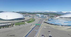 SOCHI, RUSSIA Construction of Bolshoy Ice Dome in Sochi, Russia for Winter Olympic Games 2014. Bolshoy ice Palace stock footage