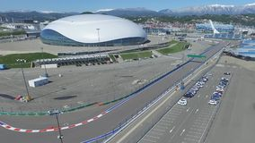 SOCHI, RUSSIA Construction of Bolshoy Ice Dome in Sochi, Russia for Winter Olympic Games 2014. Bolshoy ice Palace Royalty Free Stock Photography