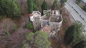 Drone view of abandoned mansion Dacha Kvitko, Sochi, Russia stock video