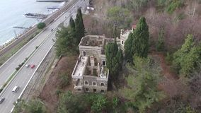 Drone view of abandoned mansion Dacha Kvitko, Sochi, Russia stock video footage