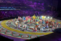 SOCHI, RUSSIA - FEBRUARY 7, 2014: festivities of Maslenitsa or P. Ancake Week begin at the opening ceremony of the XXII Olympic Winter Games in the stadium Fisht royalty free stock photography