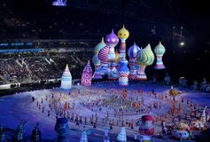 SOCHI, RUSSIA - FEBRUARY 7, 2014: festivities of Maslenitsa or P Royalty Free Stock Photo