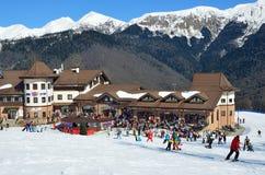 Sochi, Russia, February, 29, 2016,   People skiing and snowboarding on ski resort Rosa Khutor Royalty Free Stock Photography
