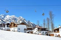 Sochi, Russia, February, 29, 2016,  ski resort Rosa Khutor, hotel Rosa Chalet on Rosa plateau Royalty Free Stock Images