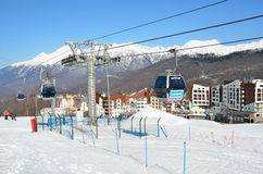 Sochi, Russia, February, 27, 2016, ski resort Rosa Khutor. In sunny day Stock Photo