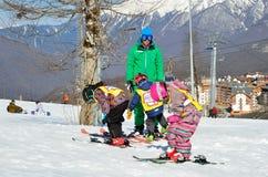 Sochi, Russia, February, 27, 2016, Ski resort Rosa Khutor. Teaching children skiing Stock Images
