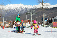 Sochi, Russia, February, 27, 2016, Ski resort Rosa Khutor. Teaching children skiing Royalty Free Stock Photos