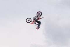 2017 04 Sochi, Russia, Festival NewStarCamp: Motorcyclist performs tricks royalty free stock photo