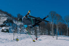 2017 04 Sochi, Russia, Festival NewStarCamp: skier jumps from a high springboard Stock Image