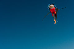 2017 04 Sochi, Russia, Festival NewStarCamp: skier jumps from a high springboard Royalty Free Stock Photography