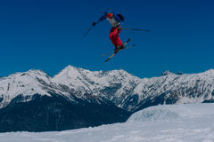 2017 04 Sochi, Russia, Festival NewStarCamp: skier jumps from a high springboard Royalty Free Stock Photos