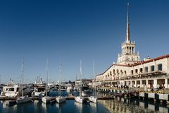 Sochi, russia - January, 2017 - Sea terminal and marina with yachts in Sochi stock images