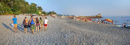 SOCHI, RUSSIA - JULY 28, 2015: Panorama of the beach of Phasotron. royalty free stock photos