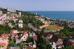 SOCHI, RUSSIA, JULY 14, 2015 Panoramic view of Stadium, Main Road and Seawiew Royalty Free Stock Photography