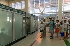 Sochi, Russia - June 3. 2018. People pass passport control on state border with Abkhazia. Sochi, Russia - June 4. 2018. People pass passport control on the state stock photography