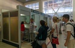 Sochi, Russia - June 3. 2018. People pass passport control on state border with Abkhazia. Sochi, Russia - June 4. 2018. People pass passport control on the state royalty free stock photography