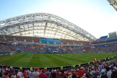Sochi, the stadium fisht. The fans filled the stadium. Match Portugal vs Spain. stock images