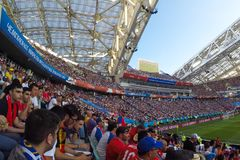 Sochi, the stadium fisht. The fans filled the stadium. Match Portugal vs Spain. royalty free stock photography