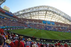 Sochi, the stadium fisht. The fans filled the stadium. Match Portugal vs Spain. royalty free stock photo