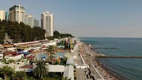 Sochi, Russia - June 2. 2018. top view of embankment and the Black Sea