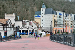 Sochi, Russia, March, 03, 2016. The infrastructure of the ski resort Rosa Khutor Royalty Free Stock Photo