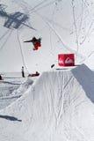 SOCHI, RUSSIA - MARCH 22, 2014: Snowboarder jumps Stock Photo