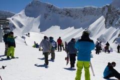 SOCHI, RUSSIA - MARCH 22, 2014: Tourists in ski Stock Photography