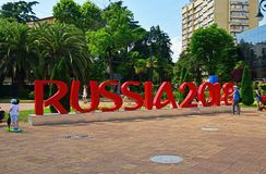 Sochi, Russia - May 30. 2018. installation of inscription symbolizes FIFA World Cup 2018 in Cooperative Square. Sochi, Russia - May 30. 2018. The installation of royalty free stock photos