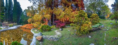 SOCHI, RUSSIA - NOVEMBER 12, 2017: Arboretum - a Japanese garden Stock Image