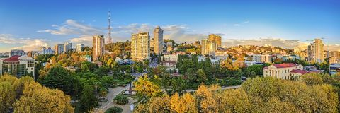 SOCHI, RUSSIA - OCTOBER 5, 2015: City landscape at sunset Royalty Free Stock Photos