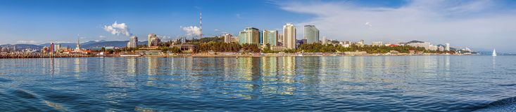 SOCHI, RUSSIA. Panoramic view of the city from the sea. royalty free stock images