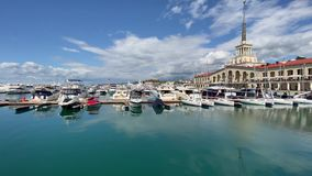 SOCHI, RUSSIA - September 22, 2019: Yachts in Sochi Grand Marina. SOCHI, RUSSIA - September 22 2019 Sochi Grand Marina stock footage