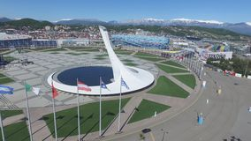 SOCHI, RUSSIA Sochi Olympic Fire Bowl in the Olympic Park Aerial. Sochi Olympic Fire Bowl in the Park. Central stella Stock Photo