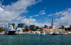 SOCHI/RUSSIAN FEDERATION - SEPTEMBER 29 2014: sea port. With people, ships and buildings Royalty Free Stock Image